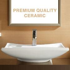 Bathroom Porcelain White Sink Ceramic Basin Vessel Vanity Bowl w/Pop Up Drain