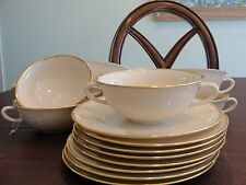 """LENOX MANSFIELD 8 SOUP CREAM CUPS 5"""" AND 8 SAUCERS 7"""""""