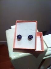 Purple Stone Effect Earrings Boxed