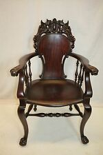Antique Victorian Chippendale Mahogany Armchair, late 19th C.