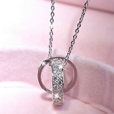 18k white gold made with Swarovski crystal love two rings set pendant necklace