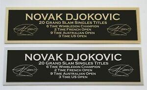 Novak Djokovic nameplate for signed autograped tennis ball photo racket