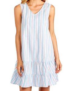 FRESH PRODUCE Medium Bluefin Blue RIO Melody Stripe Flounce Dress $75 NWT New M