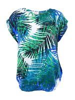Calvin Klein Women's Plus Size Palm-Print Keyhole Top (0X, Capri)