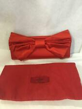 Valentino red silk satin bow clutch purse new authentic