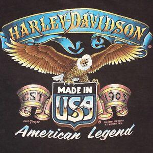 VTG Harley Davidson 3D Emblem Cut-Off T-Shirt American Legend Eagle Dave Gardner
