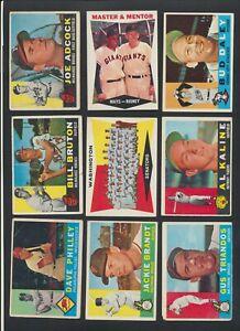 1960 Topps MLB BaseballCards U-Pick ChooseSingles CDN $ Complete Your Set
