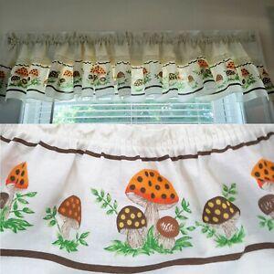 Vintage Merry Mushroom Ruffled Curtain Valance RARE Retro Kitchen Mushrooms