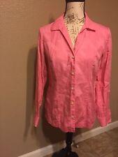 Liz Claiborne Pink Western Long Sleeve Button Top Sz 6 S ladies collar top