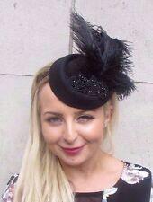 Black Statement Ostrich Feather Pillbox Hat Hair Headband Fascinator Races 3097
