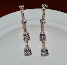 18k/18ct Yellow Gold Filled Drop Stud Earrings Made With Swarovski Crystal