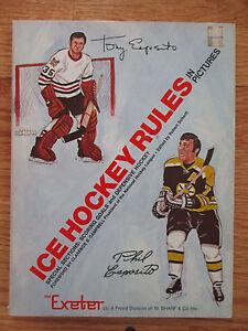 PHIL ESPOSITO (Bruins) and TONY ESPOSITO (Blackhawks) Ice Hockey Rules SC Book