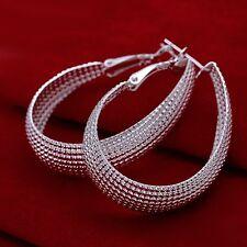 Hot 925Sterling Silver Elegant Matrix Grid Tear Drop Hoop Earrings US Ship