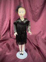 Vintage Art Deco 1920's Flapper Bisque Hand Painted Porcelain Doll OOAK Silk