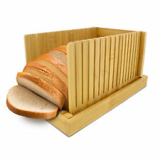 Rural365   Bamboo Bread Slicer with Crumb Tray – Fold-Out Bread Slicing Guide