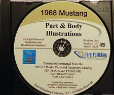 1968 FORD MUSTANG ILLUSTRATED EXPLODED VIEW PARTS AND ILLUSTRATIONS MANUAL CD
