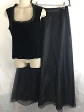 Hillard Handson Black Long 2 Pc Formal Cocktail Dress Sleeveless Top w/ Skirt