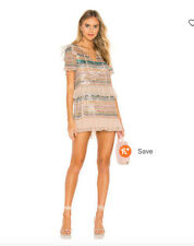 Tularosa Mason Striped Sequin Ruffle Mini Dress New Without Tags XS
