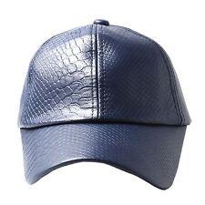 Unisexe Bleu Marine Simili-cuir peau de serpent Casquette de baseball