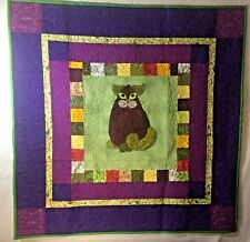 "EGGPLANT PURR-MESAN Cat Art Quilt Wall Hanging Green & Purple 36"" X 36"""