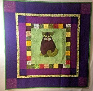 "EGGPLANT PURR-MESAN Cat Art Quilt Wall Hanging Green & Purple 36"" X 36"""