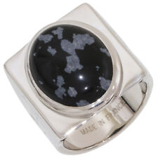 LOUIS VUITTON Snowflake Obsidian Ring in Sterling Silver 925 Mens US9 EU59 D4956