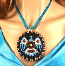 Native Style Handmade Beaded Eagle Turquoise Blue Black Organza Necklace N58/1