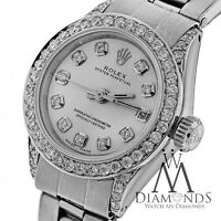 Ladies Diamond Rolex Oyster Band Silver Color Diamond Dial 26mm Automatic Watch