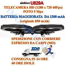 DRONE  Quadricottero U829A  HD 1280 X 720 2MPX !!!  BATTERIA 7.4V  1200MAH