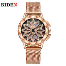 Rose Gold Crystal Women Watches Ladies Quartz Stainless Steel Mesh Wristwatch
