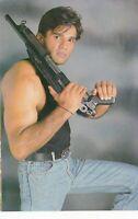Handsome young muscular guy w/ gun jock beefcake vtg Indian photo postcard gay