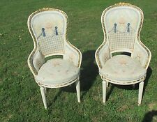 Vintage Couple Chairs  Louis XVI style Wood white wicker Cane Gobelin Stunning