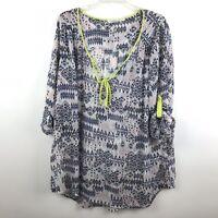 Daniel Rainn Womens Plus Size 2X Semi Sheer Graphic Print Button Cuff Blouse Top