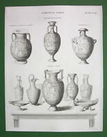 ETRUSCAN Vases Achilles Hymenaeus - 1842 Antique Print Engraving