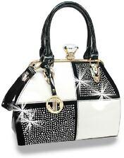 Retro Patent Fashion Handbag with Rhinestone Accent Attachable Extendable Strap