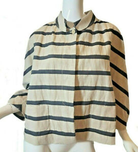 PIAZZA SEMPIONE - Beige Black Striped Cotton/Linen Blazer Jacket  (46 / US 10)