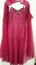 2 PIECE SEXY CRANBERRY STRETCH LACE GOWN/ROBE SET SIZE 3X GIFT