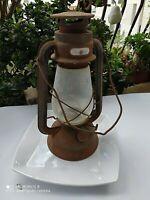 Vintage Kerosene Lamp Antique Lantern Oil Glass Metal Old