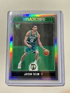 """2017-18 Jayson Tatum Panini Hoops Silver 001/199 """"Jersey number"""" Rookie Rc #253"""