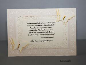 Glückwunschkarte zur Hochzeit Gruß Karten Verlobung Handarbeit Text edel 3d