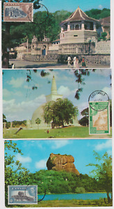 RARE 3 SUPERBES CARTES MAXIMUM   CEYLAN SRI LANKA COLOMBO  MONUMENTS  1960