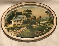 Currier and Ives Vintage Metal Oval Tray The American Homestead Summer 12x14