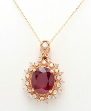 7.35 Carat Natural Red Ruby and Diamond in 14K Solid Rose Gold Pendant