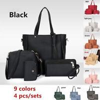 4 Pieces Leather Handbag Cross Body Shoulder Bag Purse Card Bag Set for Women