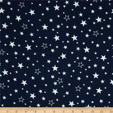 Fabric Stars White Tossed Outlined on Navy Flannel by the 1/4 yard