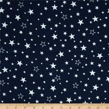 Fabric Stars White Tossed Outlined on Navy Flannel by the 1/4 yard BIN