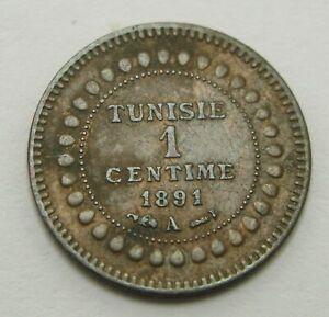 TUNISIA 1 Centime AH1308//1891A - Bronze - Ali Bey - VF - 1028