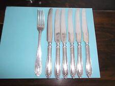 7 Pc Alpacca Flatware Lot, PRIMA NS Sweden, LOTUS, Mono H, 6 Knives 1 Fork