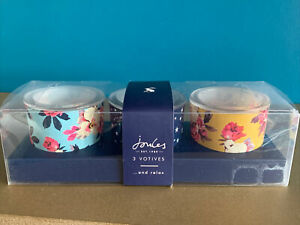 Brand New Set Of 3 Joules Glass Votive
