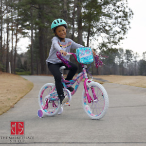 "18"" Kids Bike Girls 18-inch Wheels Bicycle with Training Wheels Pouch 3'8"" & Up"